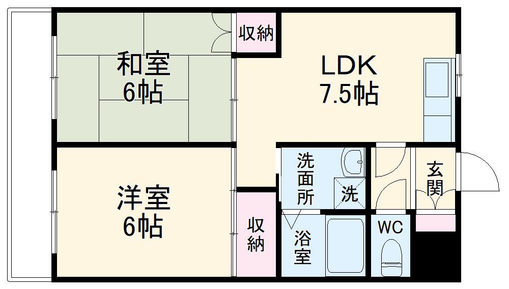 上島やよいマンション・202号室の間取り
