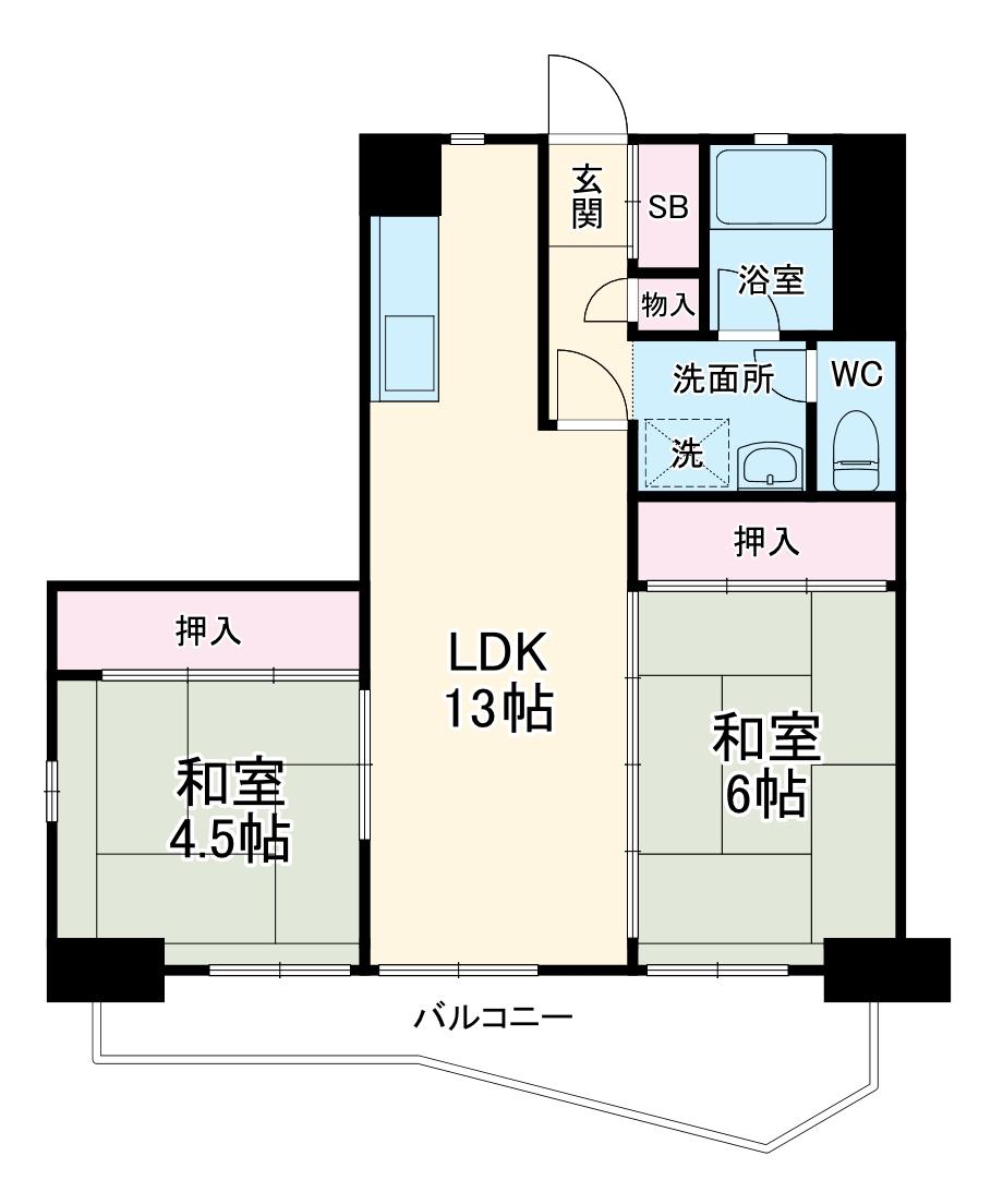 中駒九番団地 8号棟 1415号室の間取り