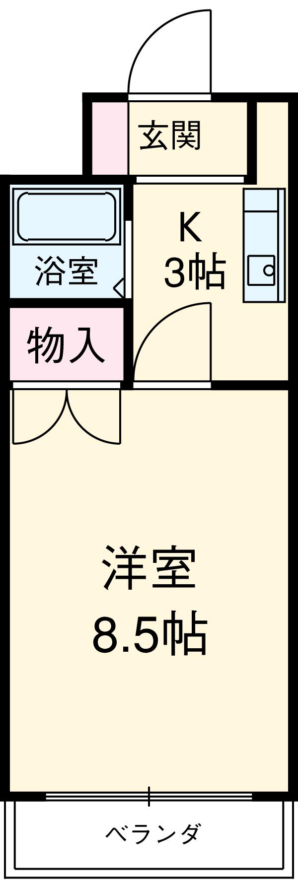 ラフィーネ新宿・101号室の間取り
