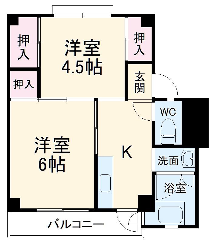 ビレッジハウス細江 2号棟・206号室の間取り