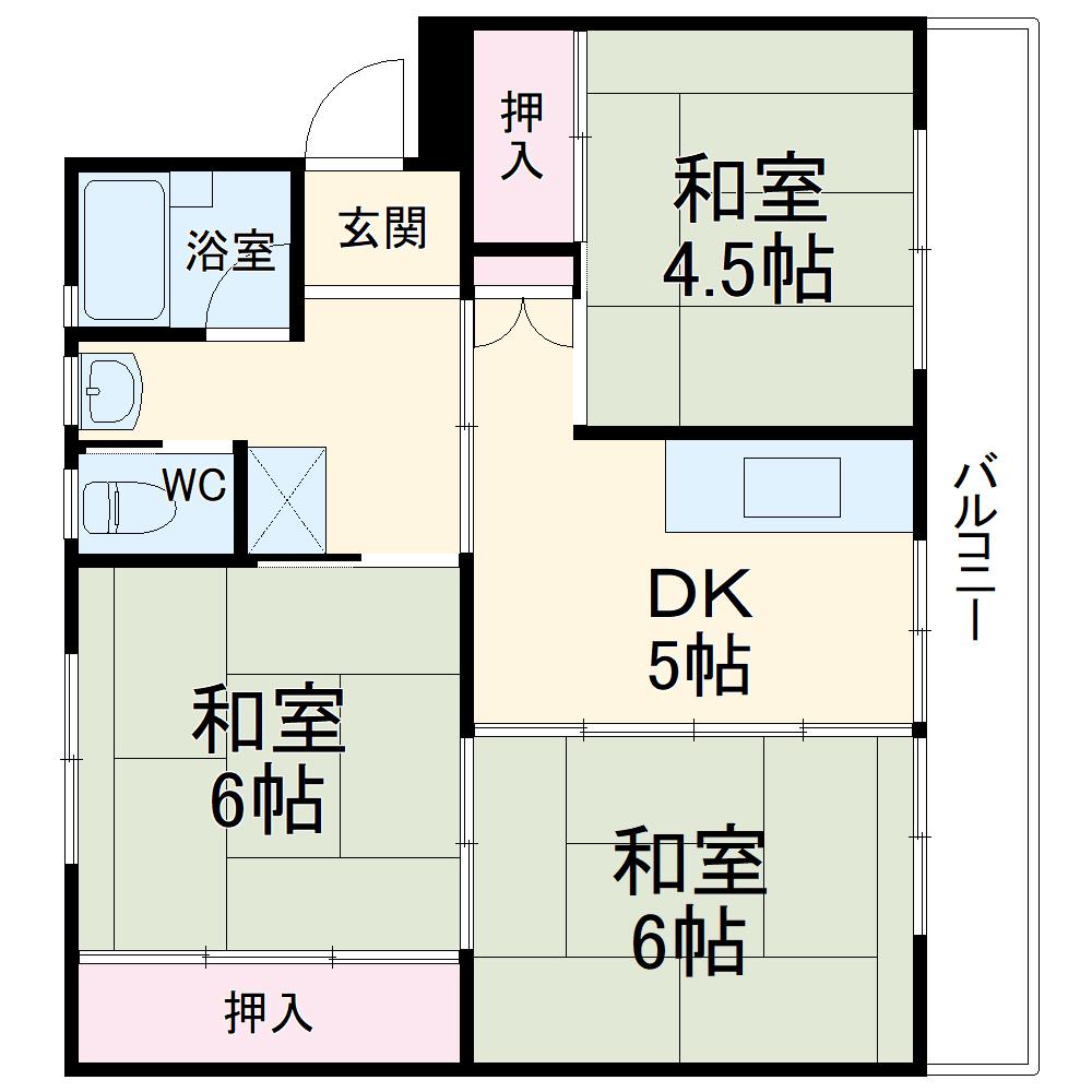 ビレッジハウス成田2号棟・504号室の間取り