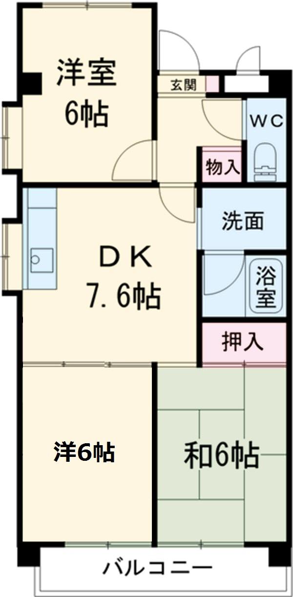 シャトーレ滝ノ水 2D号室の間取り