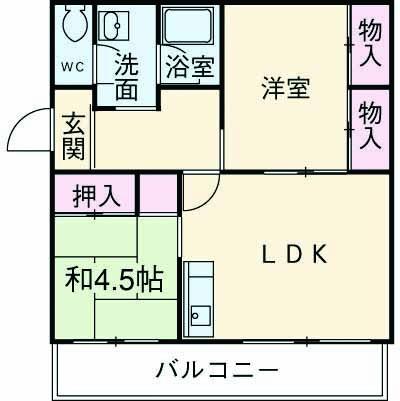 第1パークサイドマンション 205号室の間取り