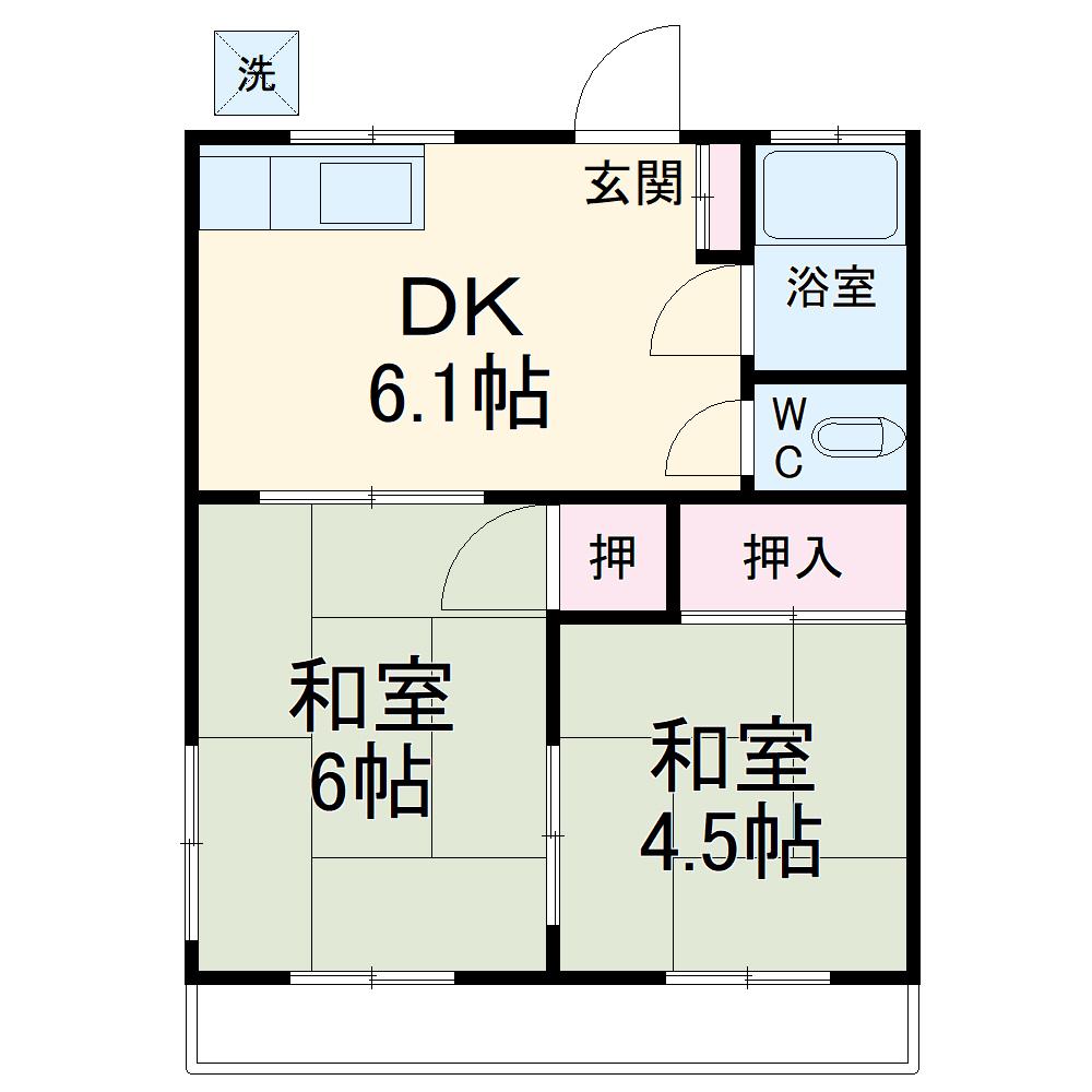 米井荘 205号室の間取り