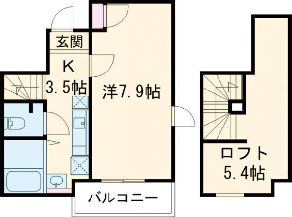ソフィータMISHUKU・201号室の間取り