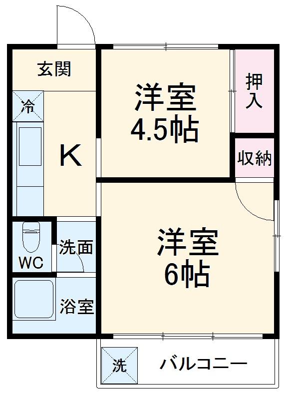松籟荘 C号室の間取り