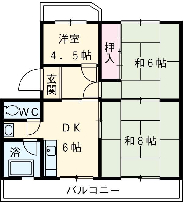 鶴田ハイツ・4-B号室の間取り
