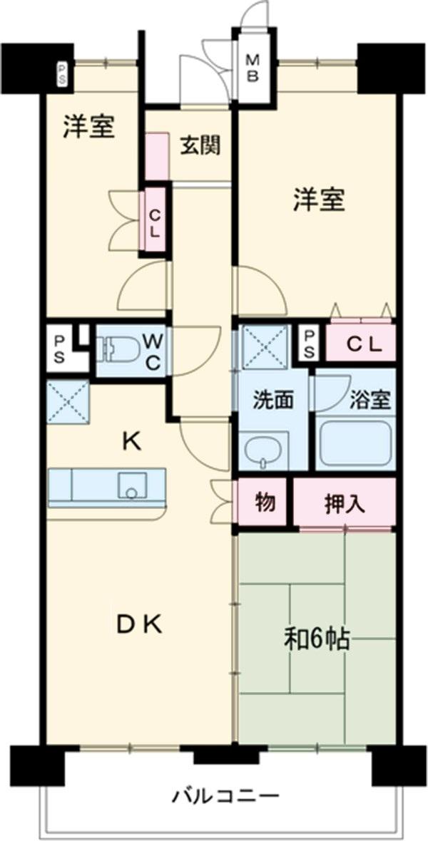 ビレッジハウス京ヶ峰タワー 513号室の間取り