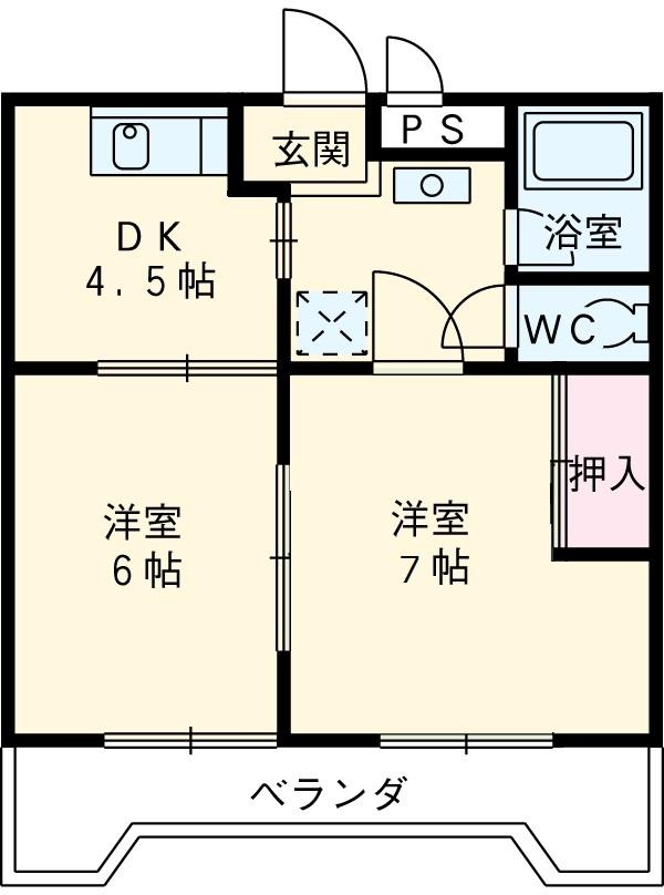 アプリコットハウス A 302号室の間取り