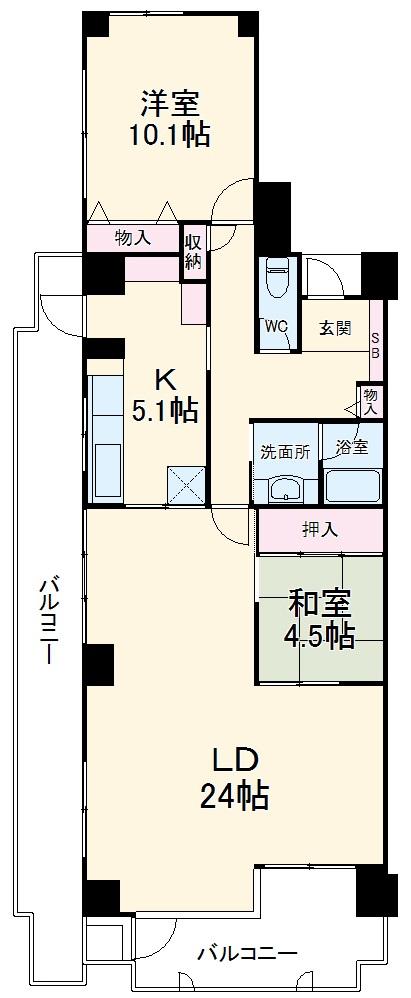 ルネ津田沼 5F号室の間取り