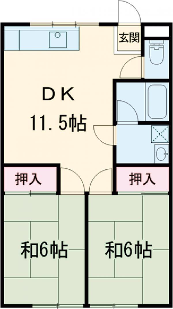 富士荘D(北) 202号室の間取り