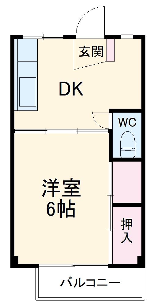 ビレッジハウス二和4号棟・305号室の間取り