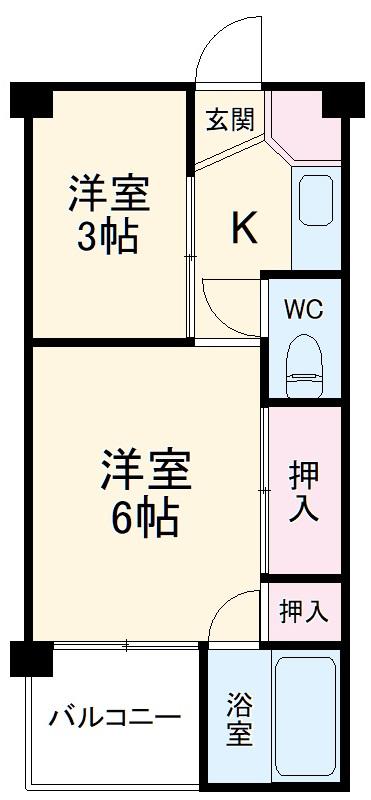 ビレッジハウス仁木・4-203号室の間取り
