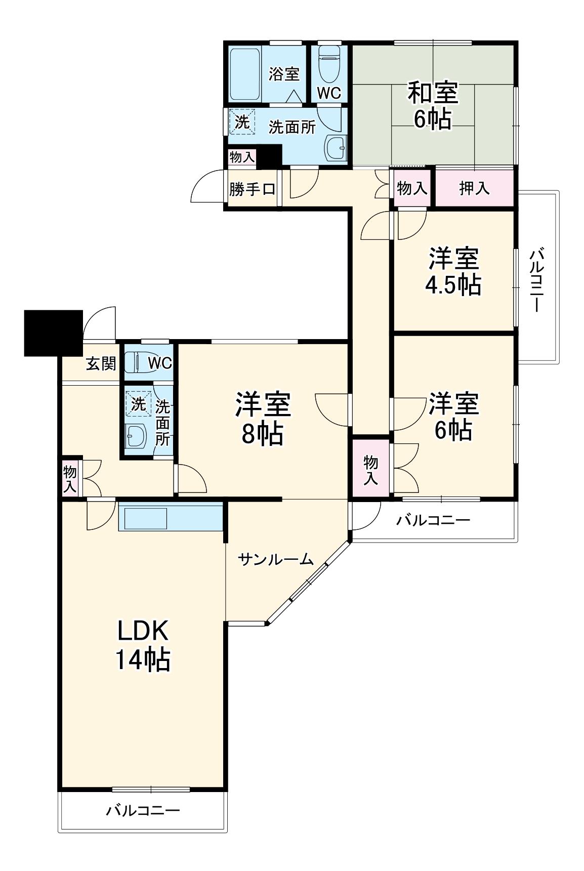 清水口1丁目第3住宅・1001号室の間取り