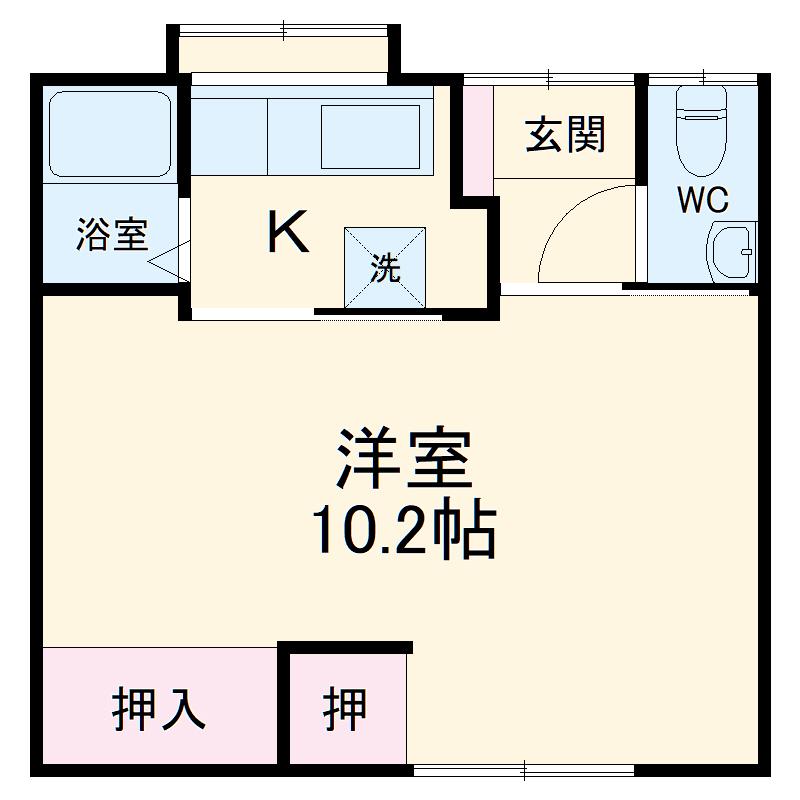 豊川市二見町貸家 B・1号室の間取り