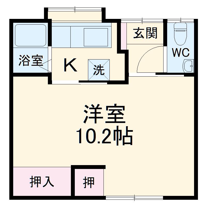 豊川市二見町貸家D・1号室の間取り