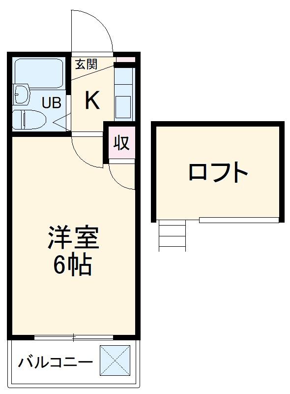 タンデム富岡・202号室の間取り
