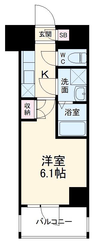 BANDOBASHI KNOTS 802号室の間取り