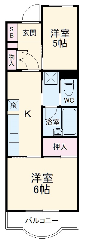 ベルハウス戸塚・102号室の間取り