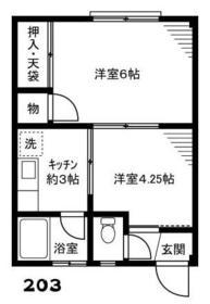 コーポ富沢 203号室の間取り