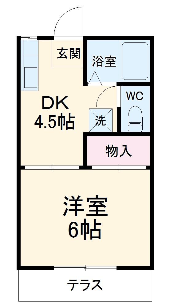 カネヨシハイツ 1-D号室の間取り