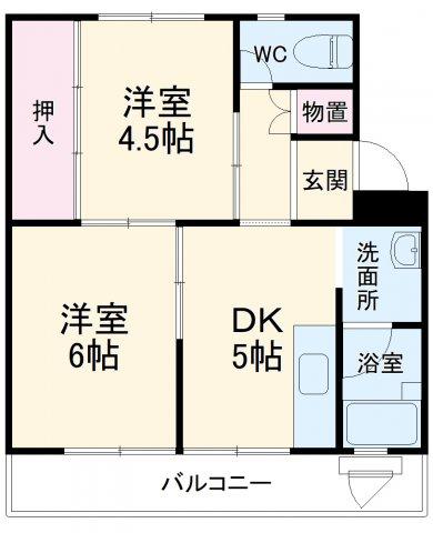 ビレッジハウス菊川2号棟 104号室の間取り