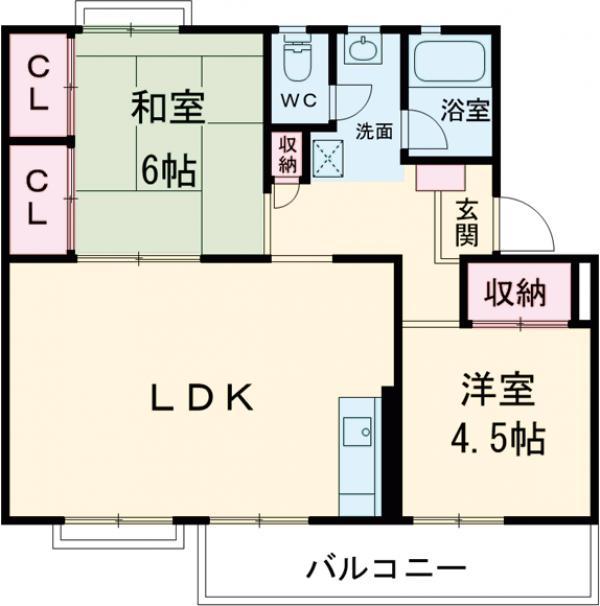 鶴川6丁目団地8-3号棟 B404号室の間取り