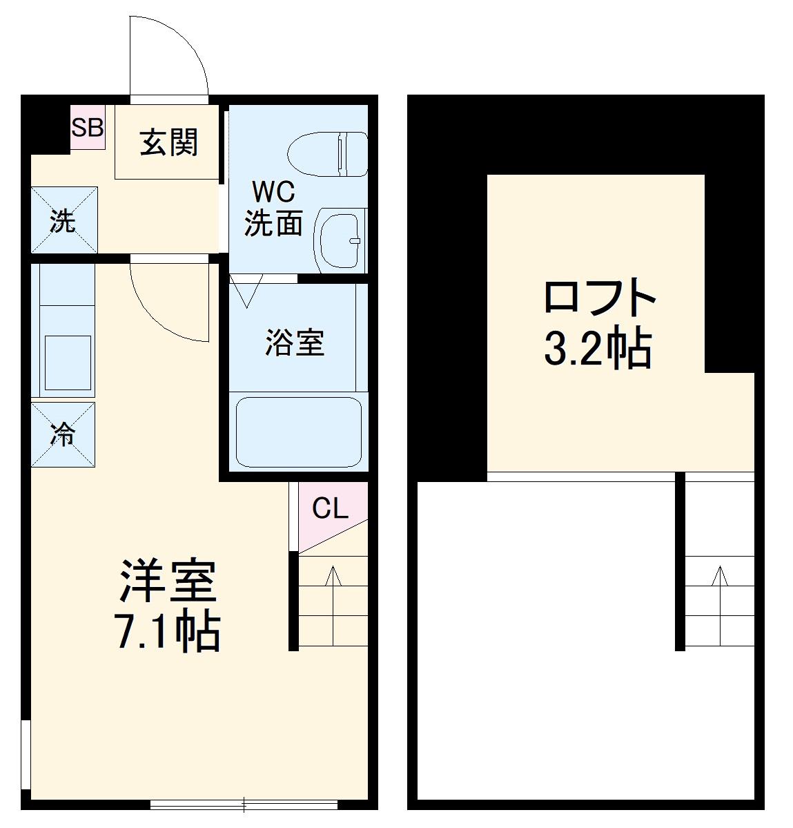 ハーミットクラブハウス戸塚矢部町A棟 102号室の間取り