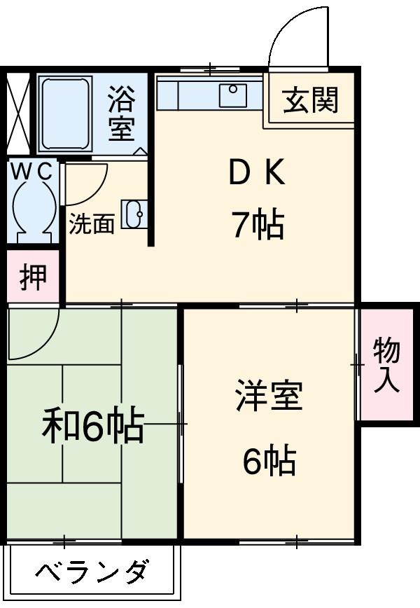 コーポ宮田B・202号室の間取り