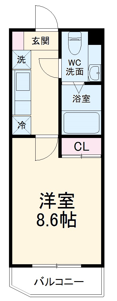 LOC'S SHINYURIGAOKA・413号室の間取り