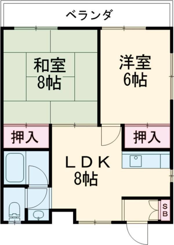 ハイツタナカ第Ⅱ・201号室の間取り