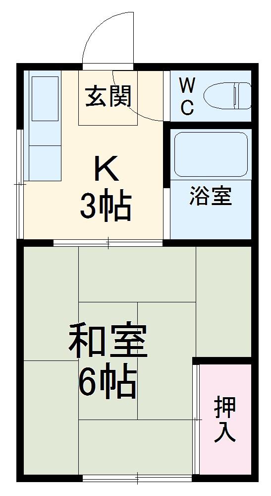 アパート大久保・103号室の間取り