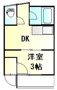 栗橋国分アパートA号棟 A202号室の間取り