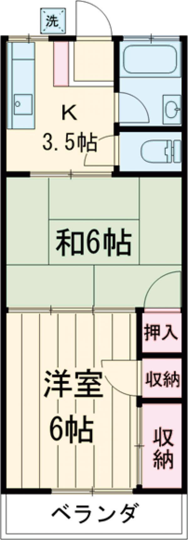 雅風荘 206号室の間取り