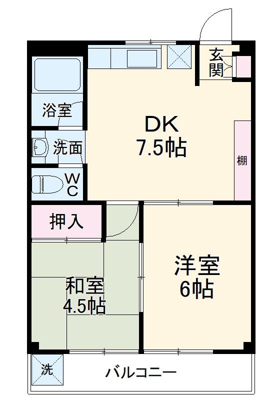 大倉山マンション・303号室の間取り