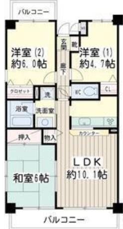 北寺尾大滝マンション・0207号室の間取り