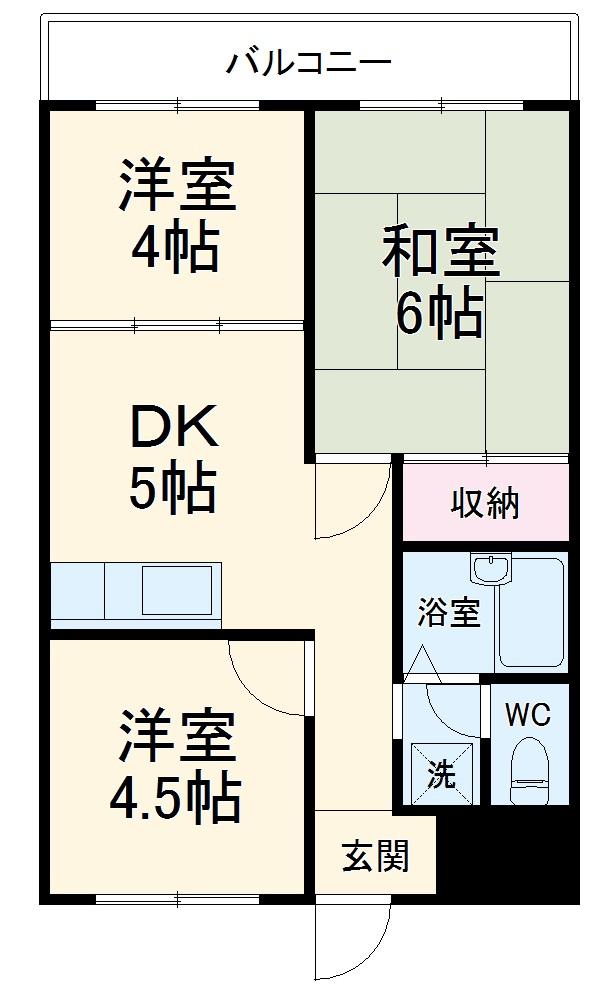 ロイヤルマンション大倉山・403号室の間取り