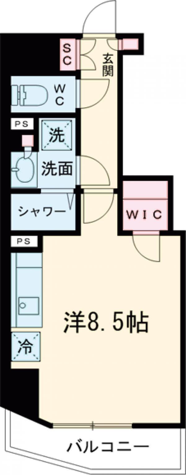 ザ・パークハビオ蒲田・802号室の間取り