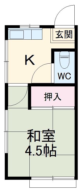 第1白井荘・1号室の間取り