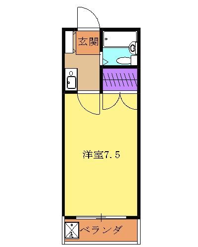 メビウスコート国立・1-D号室の間取り