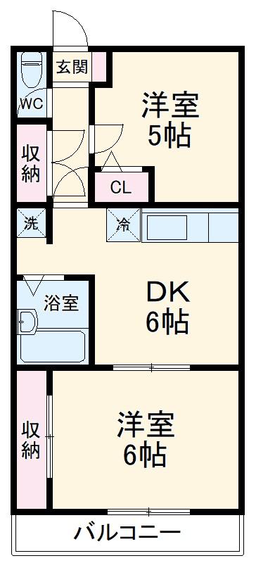 サニーテラス井田・402号室の間取り