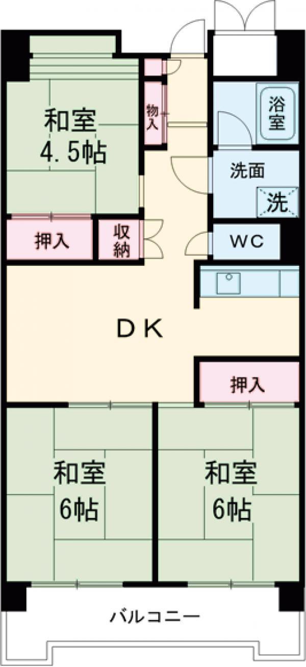 ビレッジハウス品川八潮タワー1号棟・502号室の間取り