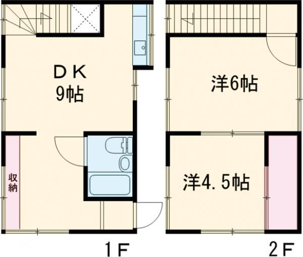 殿ハウス 2号・1号室の間取り