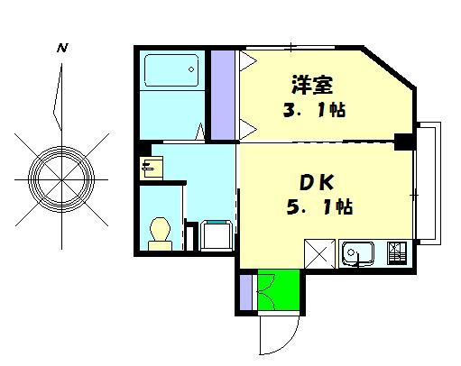 フレンズハウス・202号室の間取り
