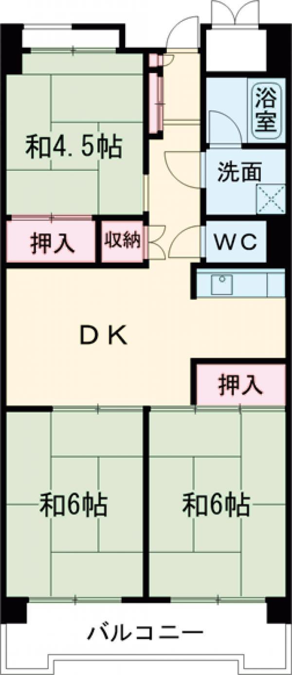 ビレッジハウス品川八潮タワー1号棟・805号室の間取り