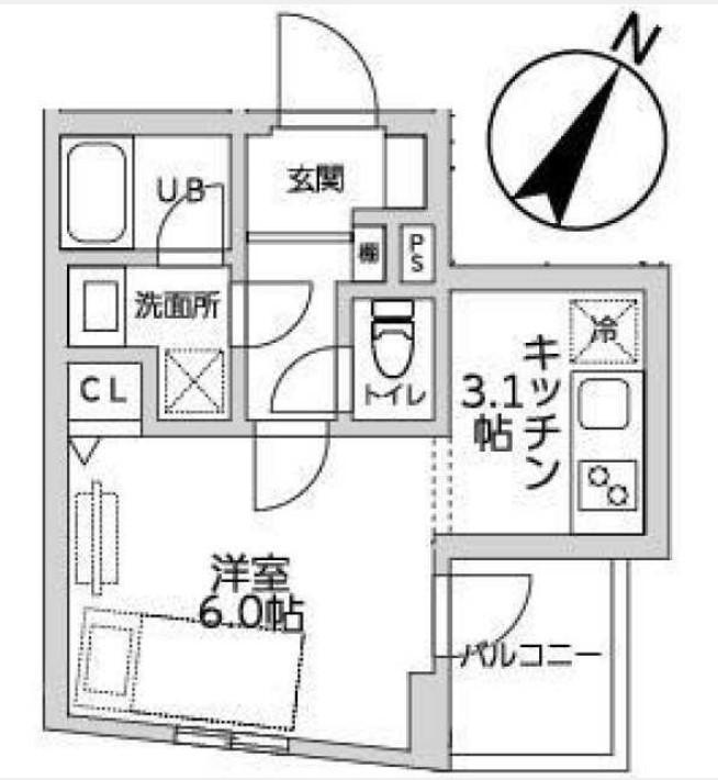 目黒区中央町YKマンション 401号室の間取り