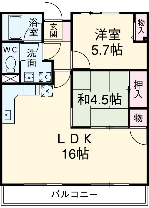 シュクレ川崎・105号室の間取り