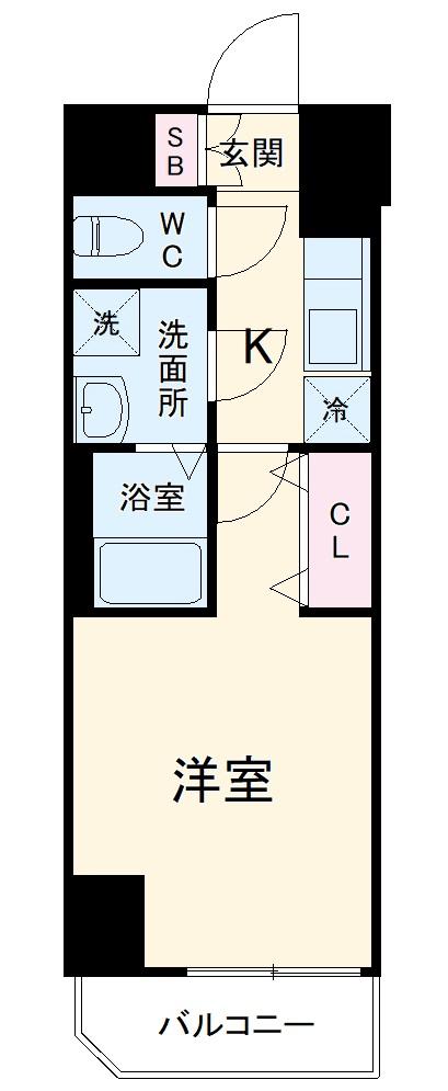 ジェノヴィア川崎駅グリーンヴェール 1103号室の間取り