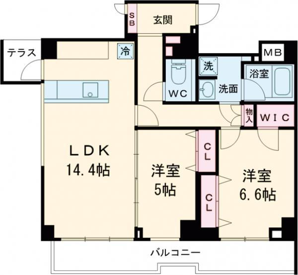 the verlux takanawa・601号室の間取り
