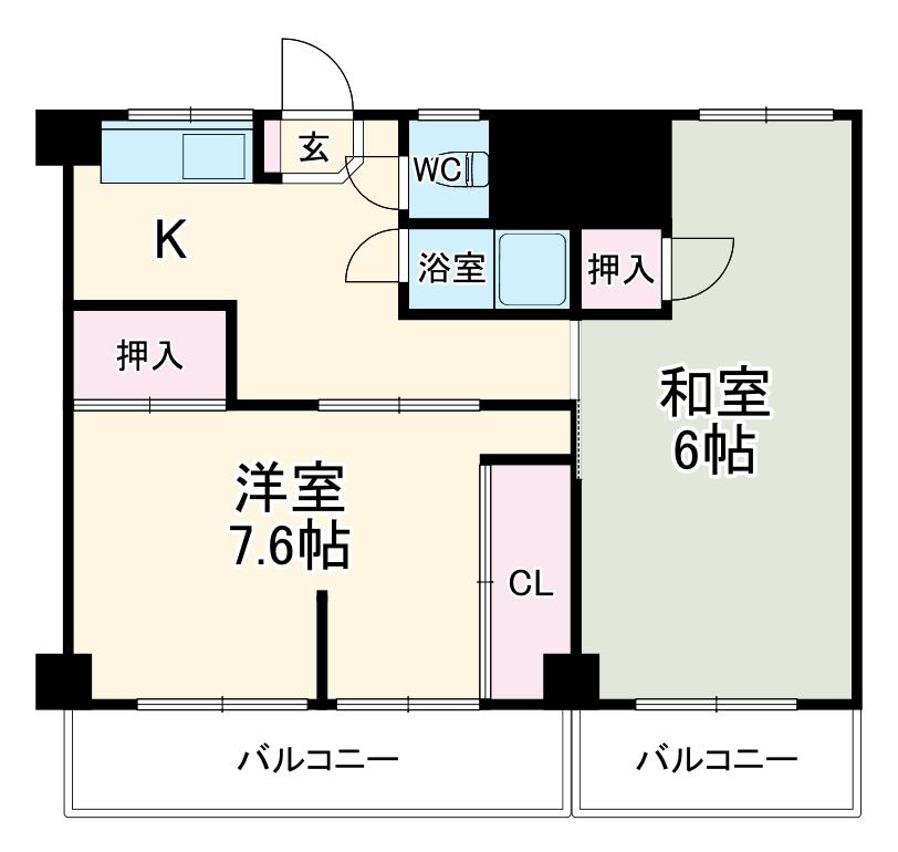 中駒コーポ富田・602号室の間取り